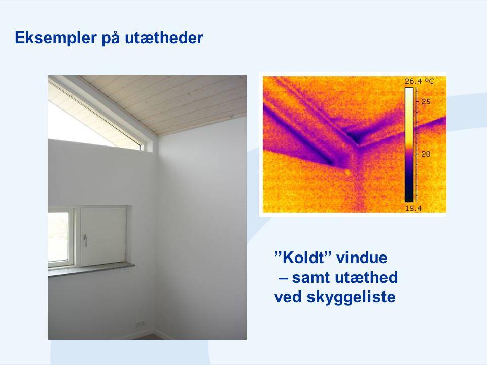 """Eksempler på utætheder """"Koldt"""" vindue – samt utæthed ved skyggeliste"""