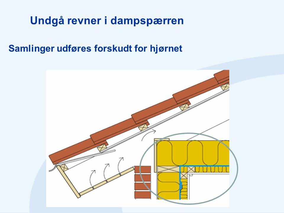 Undgå revner i dampspærren Samlinger udføres forskudt for hjørnet