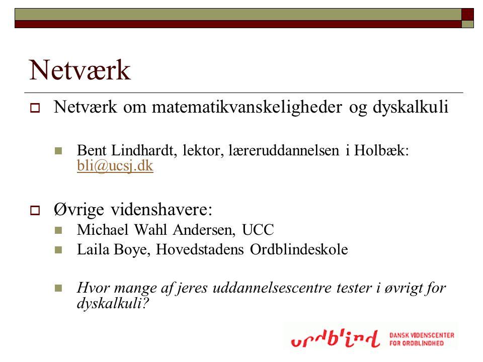 Netværk  Netværk om matematikvanskeligheder og dyskalkuli  Bent Lindhardt, lektor, læreruddannelsen i Holbæk: bli@ucsj.dk bli@ucsj.dk  Øvrige viden