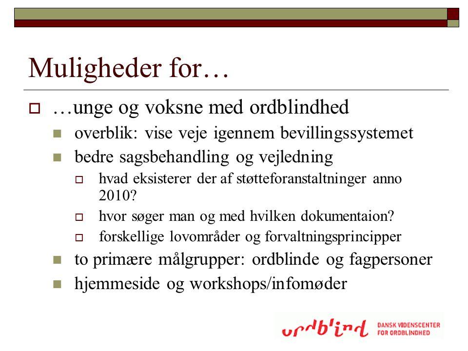 Muligheder for…  …unge og voksne med ordblindhed  overblik: vise veje igennem bevillingssystemet  bedre sagsbehandling og vejledning  hvad eksiste