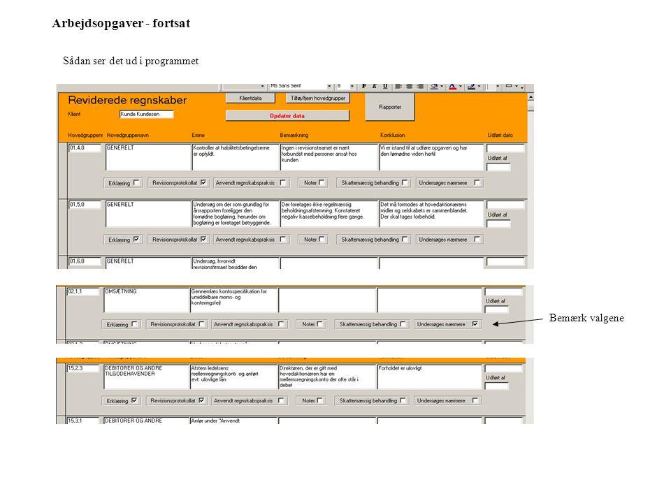 Arbejdsopgaver - fortsat Sådan ser det ud i programmet Bemærk valgene