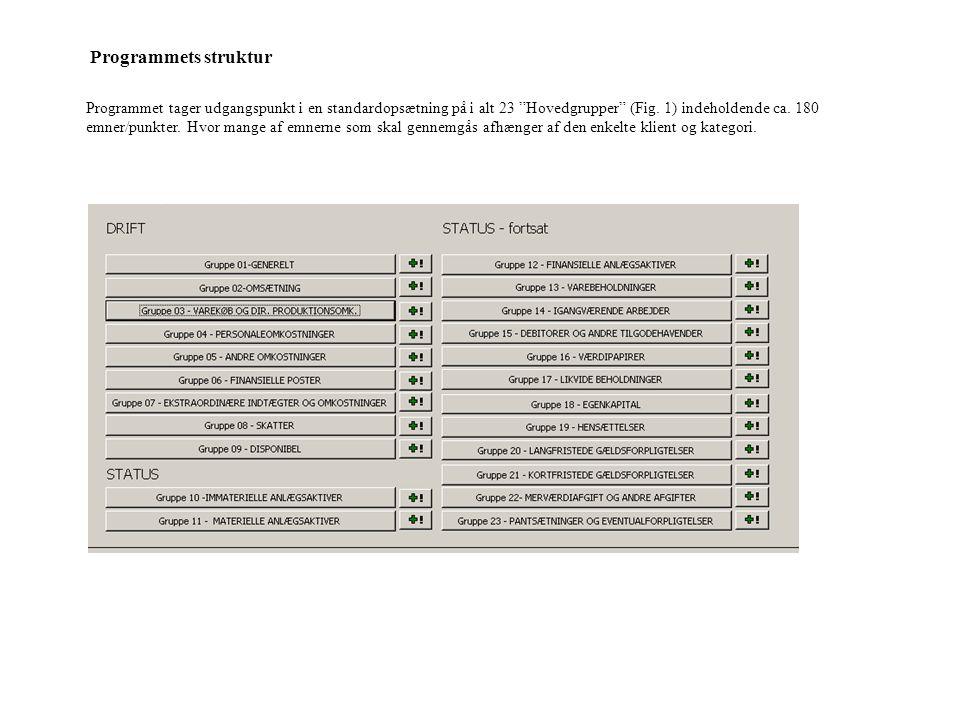 Programmet tager udgangspunkt i en standardopsætning på i alt 23 Hovedgrupper (Fig.