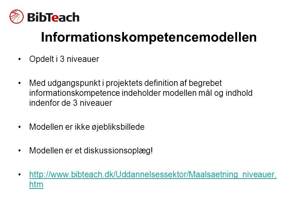 Informationskompetencemodellen •Opdelt i 3 niveauer •Med udgangspunkt i projektets definition af begrebet informationskompetence indeholder modellen mål og indhold indenfor de 3 niveauer •Modellen er ikke øjebliksbillede •Modellen er et diskussionsoplæg.