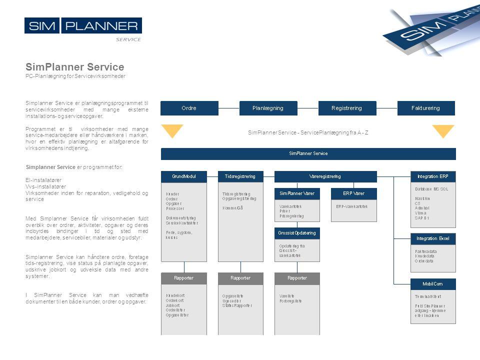 SimPlanner Service PC-Planlægning for Servicevirksomheder Simplanner Service er planlægningsprogrammet til servicevirksomheder med mange eksterne inst