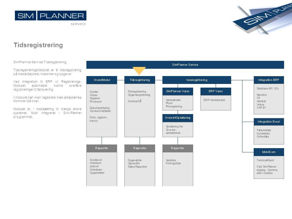 Tidsregistrering SimPlanner Service Tidsregistrering TidsregistreringsModulet er til tidsregistrering på medarbejdere, maskiner og opgaver. Ved integr