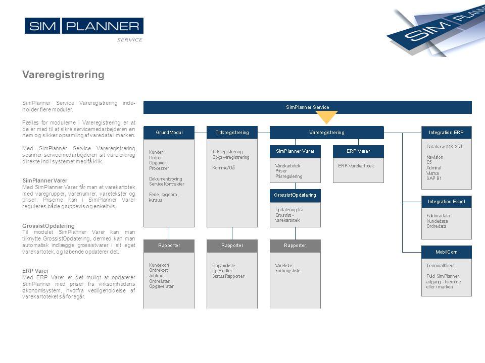 Vareregistrering SimPlanner Service Vareregistrering inde- holder flere moduler. Fælles for modulerne i Vareregistrering er at de er med til at sikre
