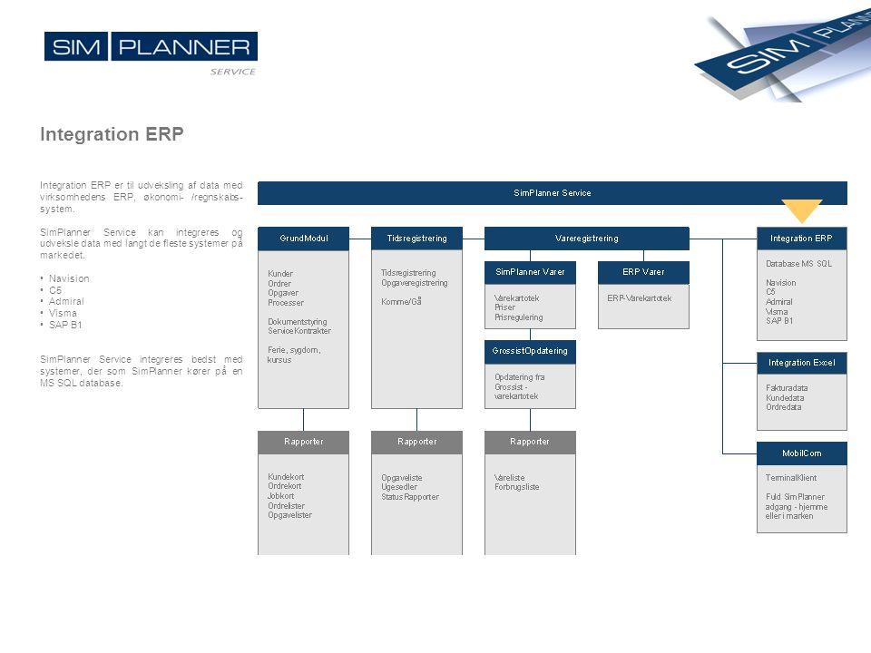Integration ERP Integration ERP er til udveksling af data med virksomhedens ERP, økonomi- /regnskabs- system. SimPlanner Service kan integreres og udv