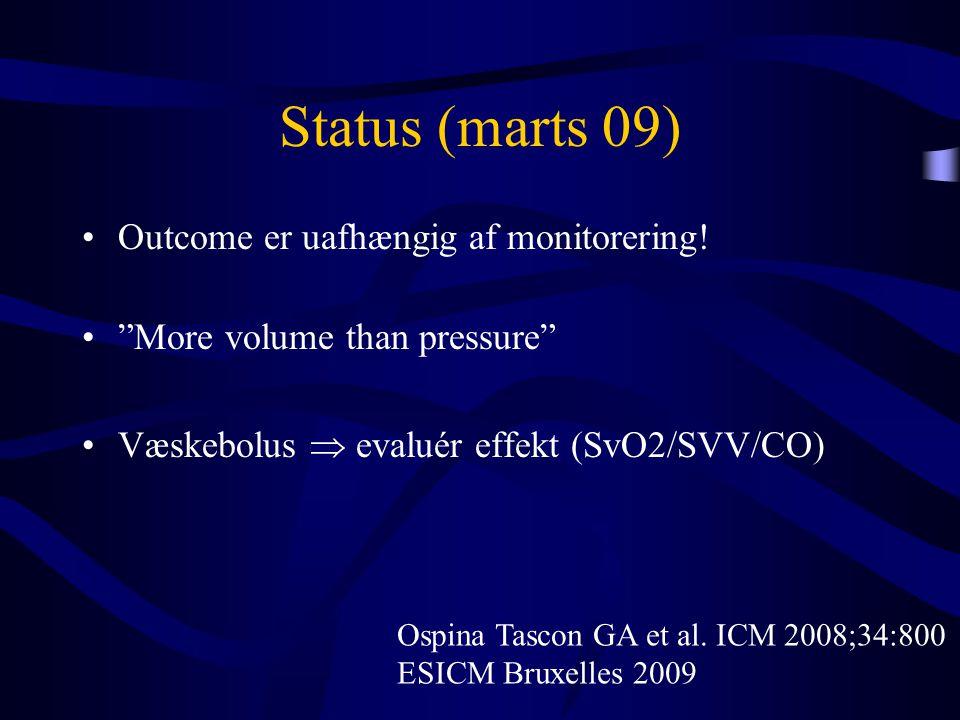 """Status (marts 09) •Outcome er uafhængig af monitorering! •""""More volume than pressure"""" •Væskebolus  evaluér effekt (SvO2/SVV/CO) Ospina Tascon GA et a"""