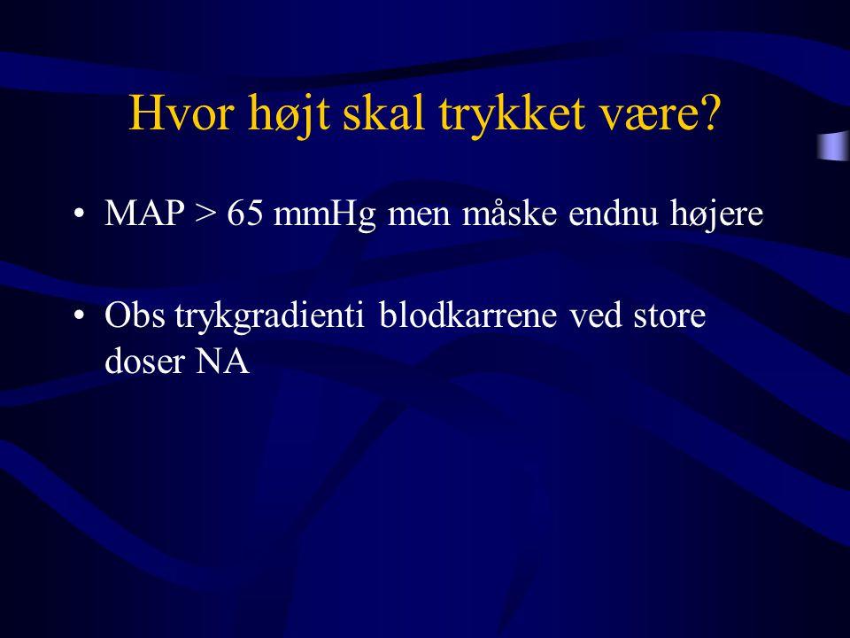 Hvor højt skal trykket være? •MAP > 65 mmHg men måske endnu højere •Obs trykgradienti blodkarrene ved store doser NA