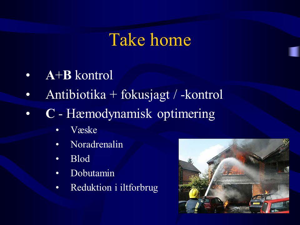 Take home •A+B kontrol •Antibiotika + fokusjagt / -kontrol •C - Hæmodynamisk optimering •Væske •Noradrenalin •Blod •Dobutamin •Reduktion i iltforbrug