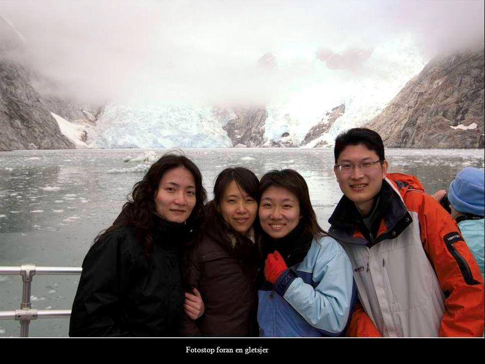 Fotostop foran en gletsjer