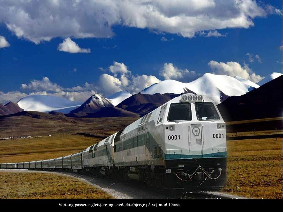 Vort tog passerer gletsjere og snedækte bjerge på vej mod Lhasa