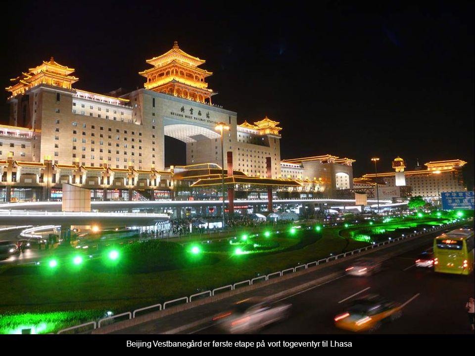 Vores rejsekammerat, Joey, viser skilter, som siger « Beijing Vest til Lhasa »