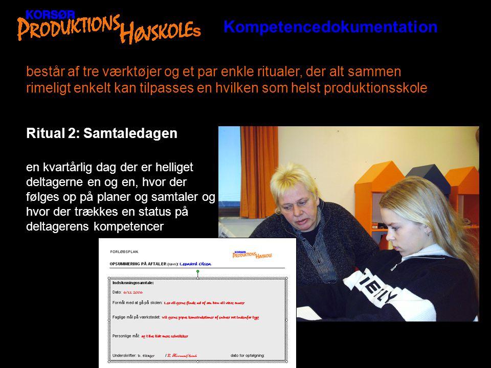 Kompetencedokumentation s består af tre værktøjer og et par enkle ritualer, der alt sammen rimeligt enkelt kan tilpasses en hvilken som helst produktionsskole Værktøj 1: Tavlen og det faglige kompetenceark (de værkstedsfaglige kompetencer + generelt faglige kompetencer) Det er et kompetencevurderingsværktøj hvor skolen på en tre trins skala (nybegynder/øvet/kompetent) angiver hvad man som skole/ værksted kan stå inde for at deltageren kan.