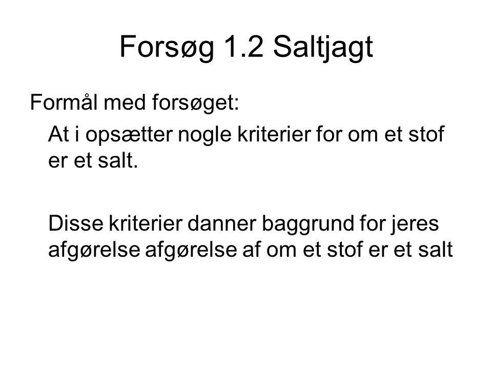 Forsøg 1.2 Saltjagt Formål med forsøget: At i opsætter nogle kriterier for om et stof er et salt. Disse kriterier danner baggrund for jeres afgørelse