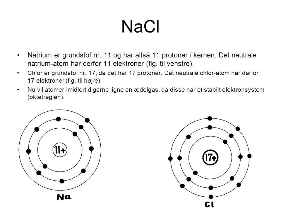 NaCl •Natrium er grundstof nr. 11 og har altså 11 protoner i kernen. Det neutrale natrium-atom har derfor 11 elektroner (fig. til venstre). •Chlor er