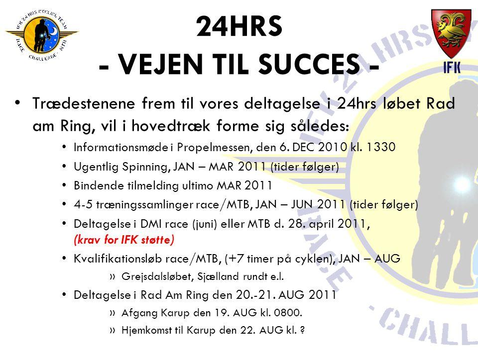 24HRS - VEJEN TIL SUCCES - •Trædestenene frem til vores deltagelse i 24hrs løbet Rad am Ring, vil i hovedtræk forme sig således: •Informationsmøde i Propelmessen, den 6.