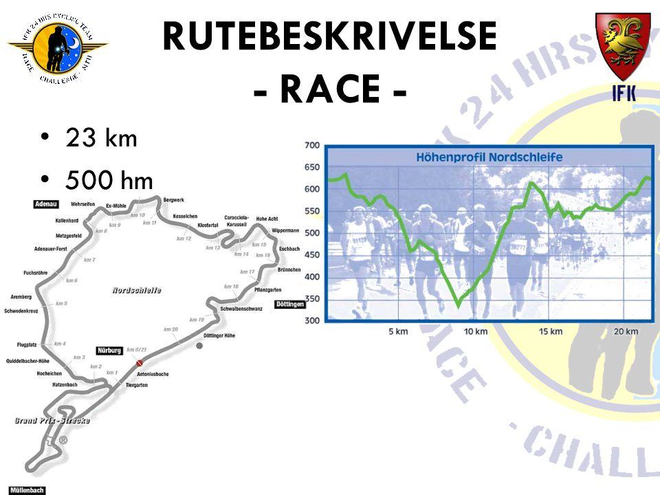 RUTEBESKRIVELSE - RACE - •23 km •500 hm