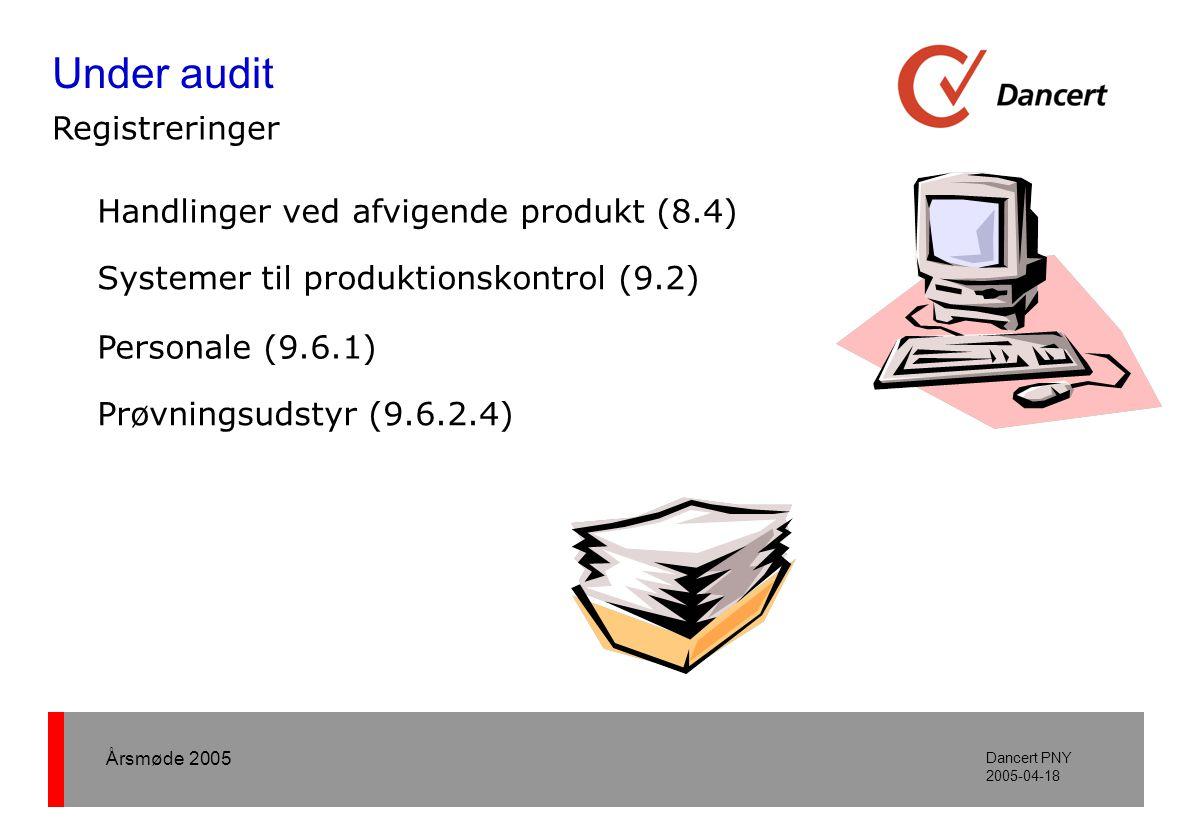 Årsmøde 2005 Dancert PNY 2005-04-18 Handlinger ved afvigende produkt (8.4) Systemer til produktionskontrol (9.2) Personale (9.6.1) Prøvningsudstyr (9.6.2.4) Under audit Registreringer