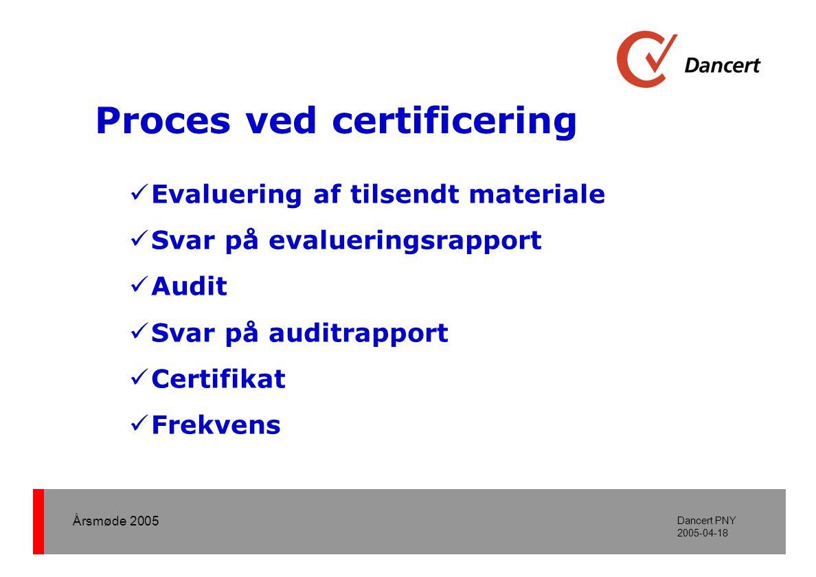 Årsmøde 2005 Dancert PNY 2005-04-18 Proces ved certificering  Evaluering af tilsendt materiale  Svar på evalueringsrapport  Audit  Svar på auditrapport  Certifikat  Frekvens