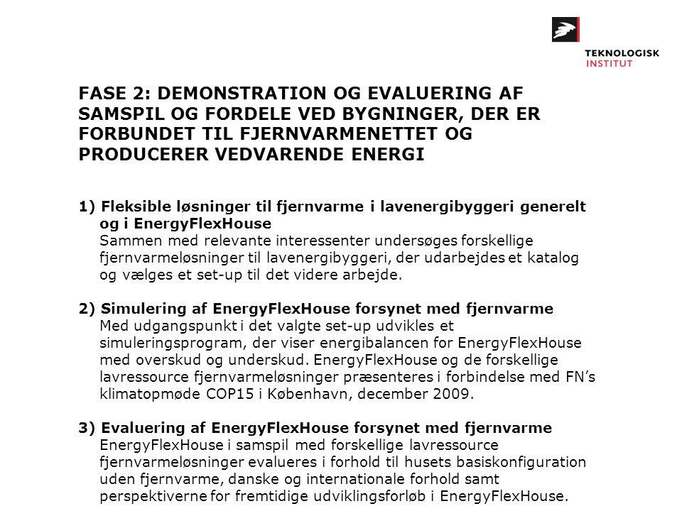 FASE 2: DEMONSTRATION OG EVALUERING AF SAMSPIL OG FORDELE VED BYGNINGER, DER ER FORBUNDET TIL FJERNVARMENETTET OG PRODUCERER VEDVARENDE ENERGI 1) Flek