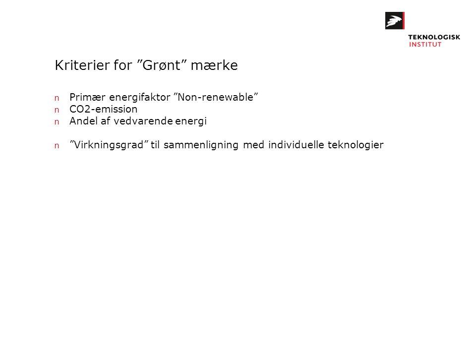 """Kriterier for """"Grønt"""" mærke n Primær energifaktor """"Non-renewable"""" n CO2-emission n Andel af vedvarende energi n """"Virkningsgrad"""" til sammenligning med"""