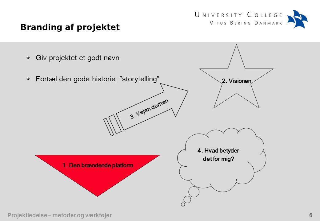 Projektledelse – metoder og værktøjer6 Giv projektet et godt navn Fortæl den gode historie: storytelling Branding af projektet 2.