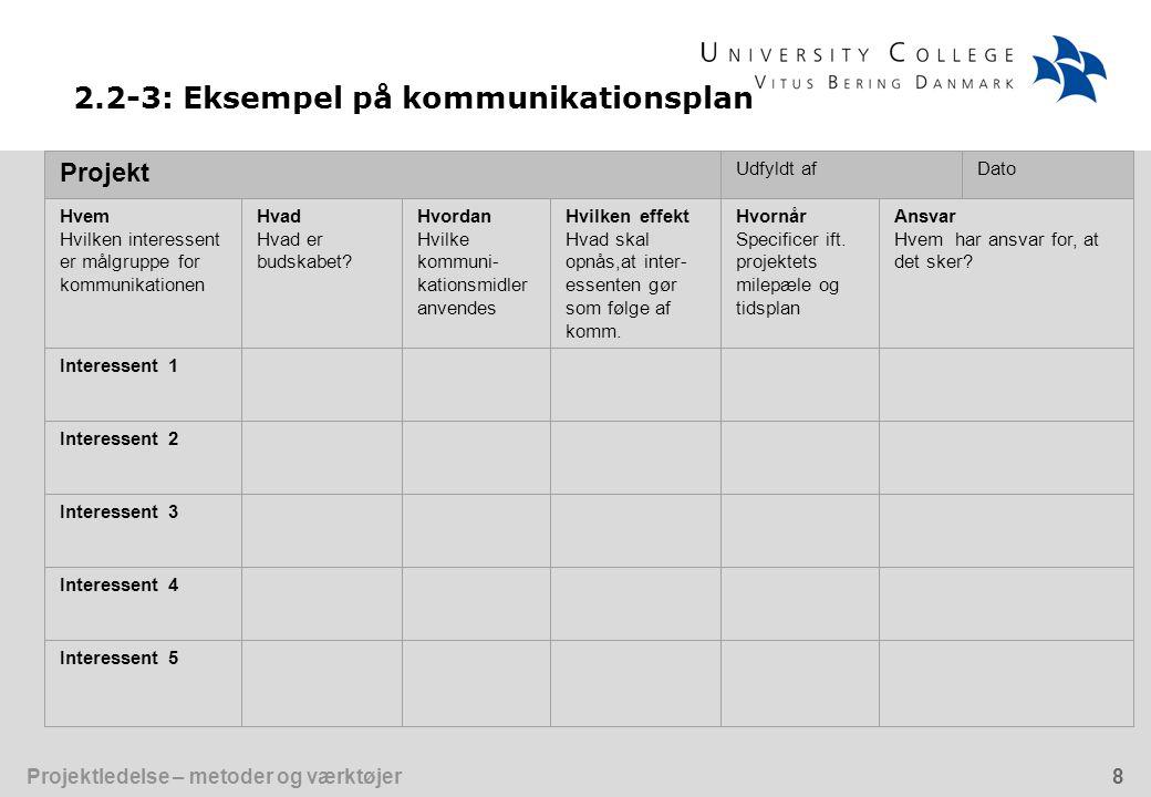 Projektledelse – metoder og værktøjer8 Projekt Udfyldt afDato Hvem Hvilken interessent er målgruppe for kommunikationen Hvad Hvad er budskabet.