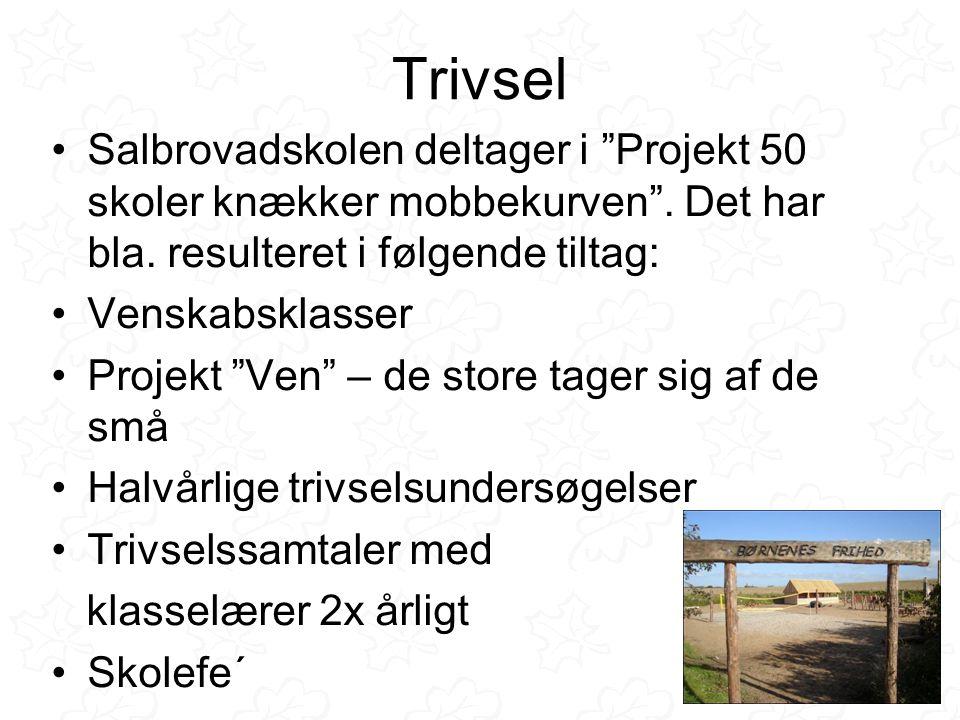 Trivsel •Salbrovadskolen deltager i Projekt 50 skoler knækker mobbekurven .