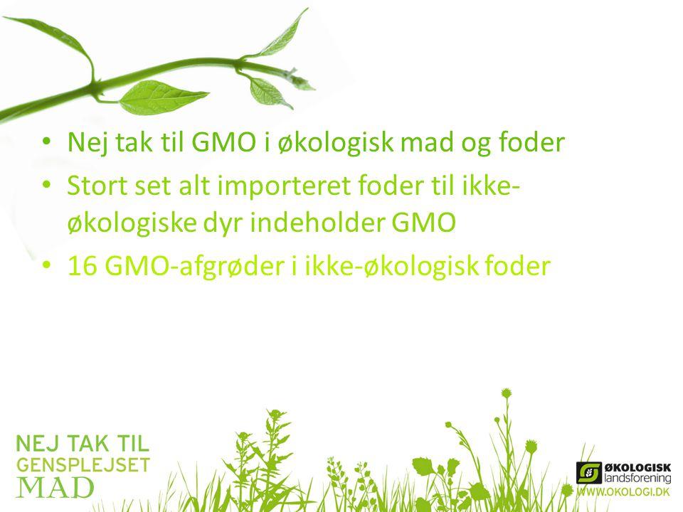 • Nej tak til GMO i økologisk mad og foder • Stort set alt importeret foder til ikke- økologiske dyr indeholder GMO • 16 GMO-afgrøder i ikke-økologisk