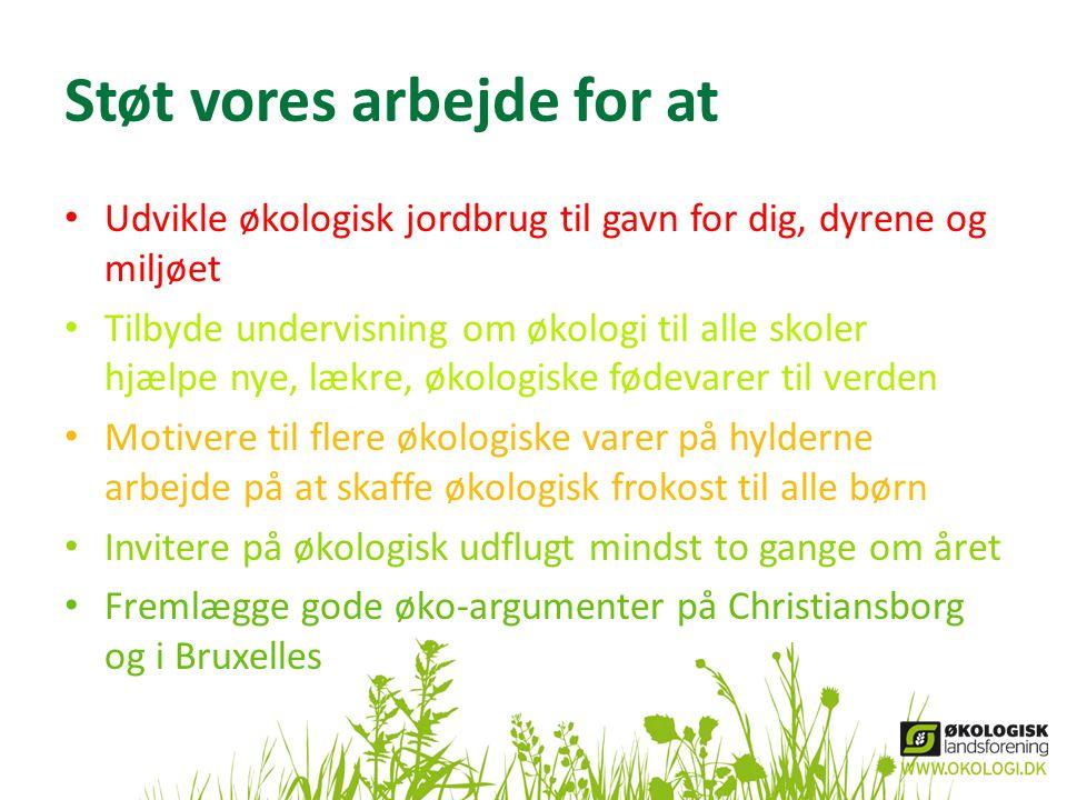 Støt vores arbejde for at • Udvikle økologisk jordbrug til gavn for dig, dyrene og miljøet • Tilbyde undervisning om økologi til alle skoler hjælpe ny