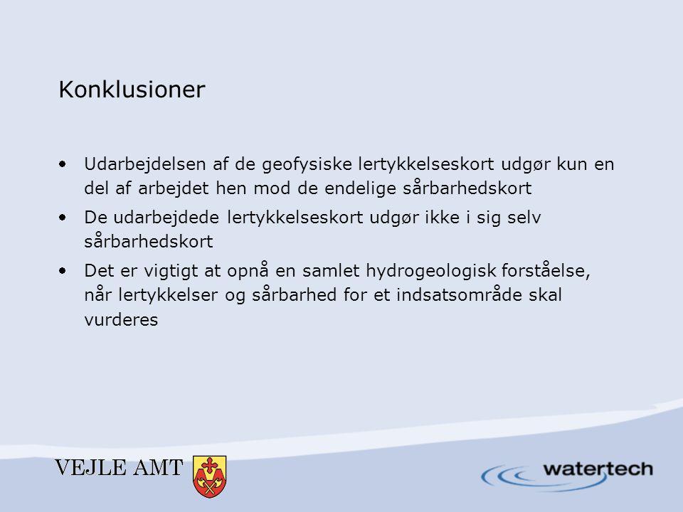 Konklusioner Udarbejdelsen af de geofysiske lertykkelseskort udgør kun en del af arbejdet hen mod de endelige sårbarhedskort De udarbejdede lertykke