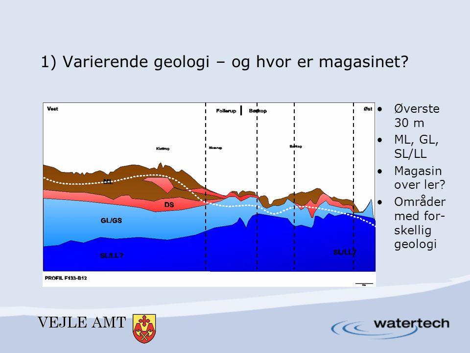 1) Varierende geologi – og hvor er magasinet? •Øverste 30 m •ML, GL, SL/LL •Magasin over ler? •Områder med for- skellig geologi
