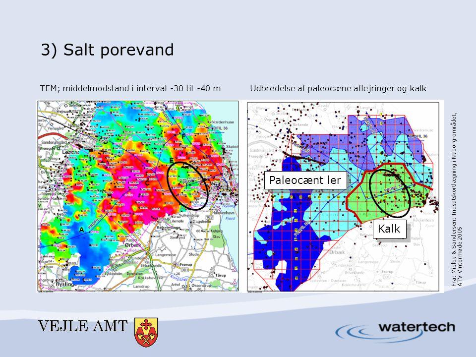 3) Salt porevand TEM; middelmodstand i interval -30 til -40 mUdbredelse af paleocæne aflejringer og kalk Fra: Mielby & Sandersen: Indsatskortlægning i