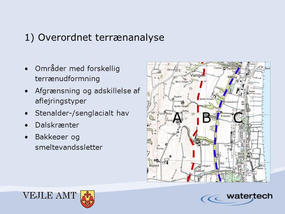 1) Overordnet terrænanalyse •Områder med forskellig terrænudformning •Afgrænsning og adskillelse af aflejringstyper •Stenalder-/senglacialt hav •Dalsk