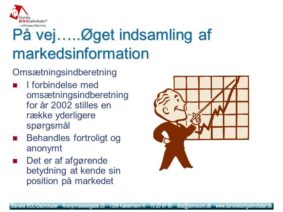 På vej…..Øget indsamling af markedsinformation Omsætningsindberetning  I forbindelse med omsætningsindberetning for år 2002 stilles en række yderligere spørgsmål  Behandles fortroligt og anonymt  Det er af afgørende betydning at kende sin position på markedet