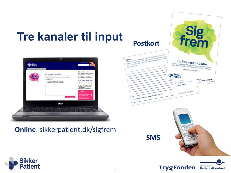 Tre kanaler til input SMS Online: sikkerpatient.dk/sigfrem Postkort 2