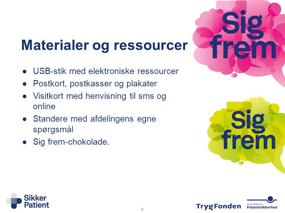 Materialer og ressourcer ●USB-stik med elektroniske ressourcer ●Postkort, postkasser og plakater ●Visitkort med henvisning til sms og online ●Standere