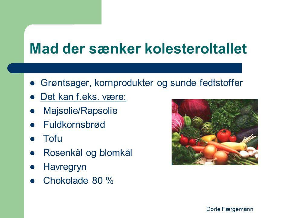 Dorte Færgemann Mad der sænker kolesteroltallet  Grøntsager, kornprodukter og sunde fedtstoffer  Det kan f.eks. være:  Majsolie/Rapsolie  Fuldkorn