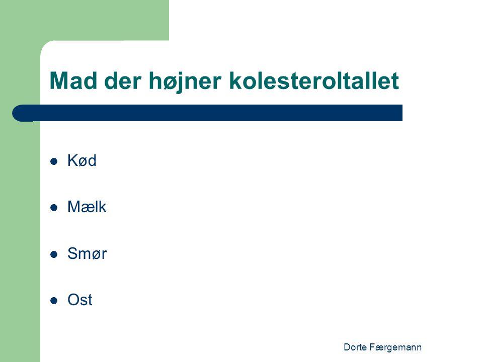 Dorte Færgemann Mad der højner kolesteroltallet  Kød  Mælk  Smør  Ost