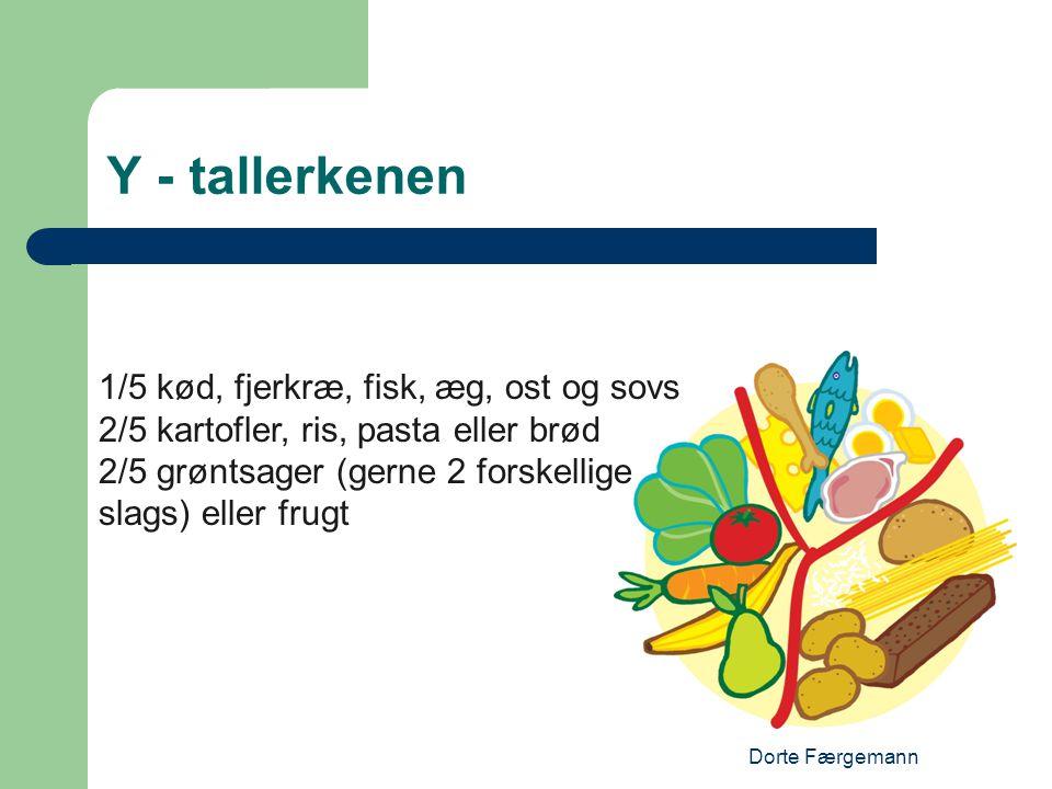 Dorte Færgemann Y - tallerkenen 1/5 kød, fjerkræ, fisk, æg, ost og sovs 2/5 kartofler, ris, pasta eller brød 2/5 grøntsager (gerne 2 forskellige slags