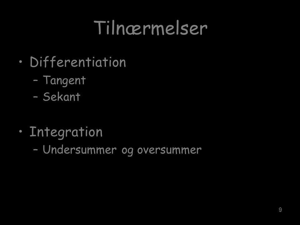 9 Tilnærmelser •Differentiation –Tangent –Sekant •Integration –Undersummer og oversummer