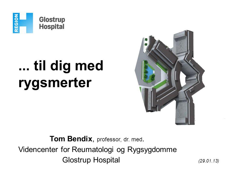 ... til dig med rygsmerter Tom Bendix, professor, dr. med. Videncenter for Reumatologi og Rygsygdomme Glostrup Hospital (29.01.13)
