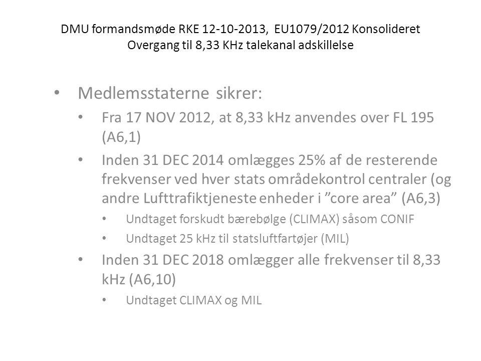 DMU formandsmøde RKE 12-10-2013, EU1079/2012 Konsolideret Overgang til 8,33 KHz talekanal adskillelse • Medlemsstaterne sikrer: • Fra 17 NOV 2012, at 8,33 kHz anvendes over FL 195 (A6,1) • Inden 31 DEC 2014 omlægges 25% af de resterende frekvenser ved hver stats områdekontrol centraler (og andre Lufttrafiktjeneste enheder i core area (A6,3) • Undtaget forskudt bærebølge (CLIMAX) såsom CONIF • Undtaget 25 kHz til statsluftfartøjer (MIL) • Inden 31 DEC 2018 omlægger alle frekvenser til 8,33 kHz (A6,10) • Undtaget CLIMAX og MIL