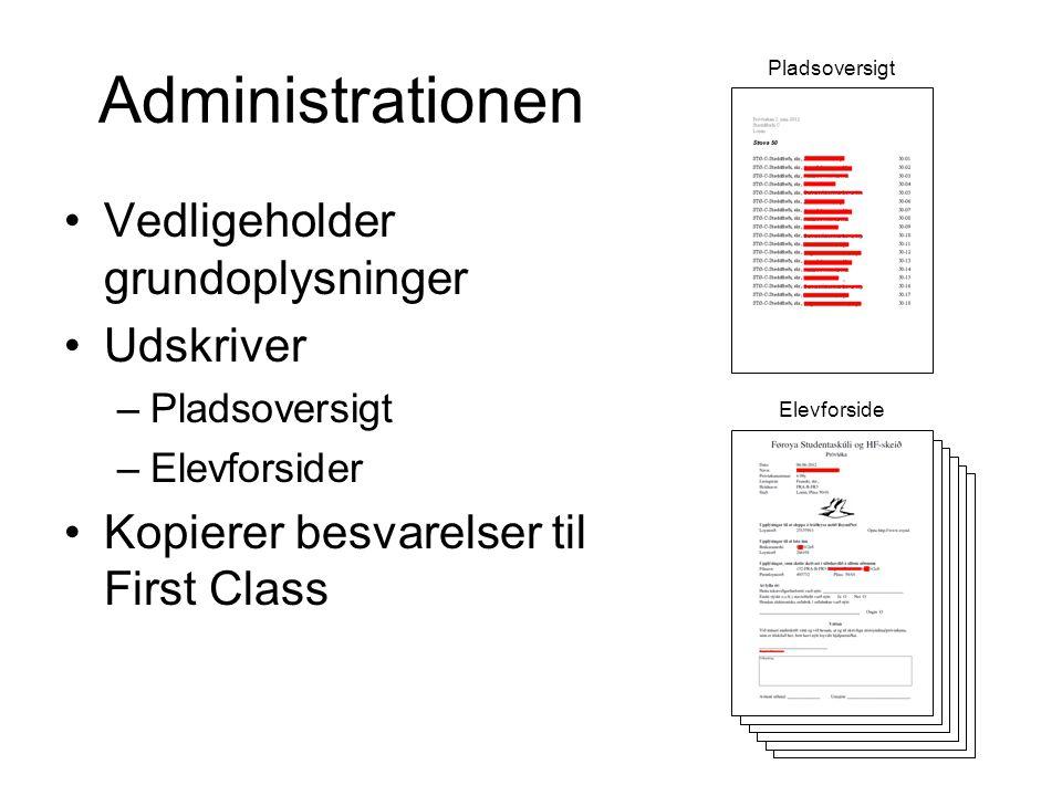 Administrationen •Vedligeholder grundoplysninger •Udskriver –Pladsoversigt –Elevforsider •Kopierer besvarelser til First Class Pladsoversigt Elevforside
