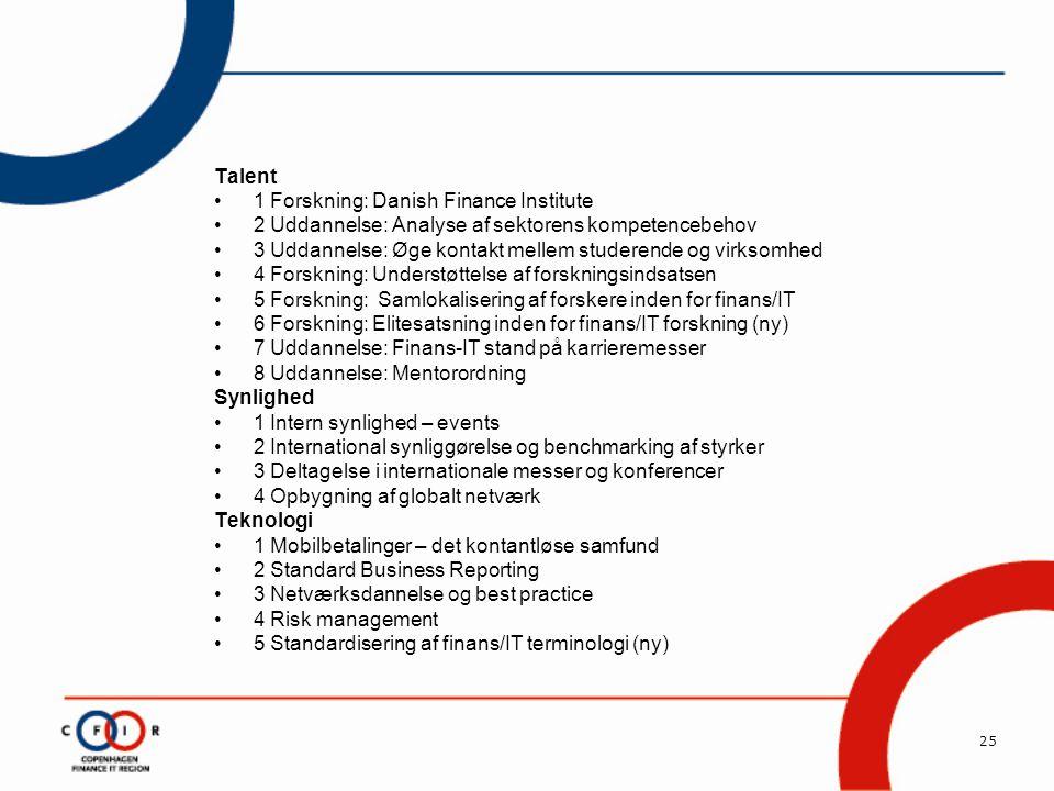 25 Talent •1 Forskning: Danish Finance Institute •2 Uddannelse: Analyse af sektorens kompetencebehov •3 Uddannelse: Øge kontakt mellem studerende og virksomhed •4 Forskning: Understøttelse af forskningsindsatsen •5 Forskning: Samlokalisering af forskere inden for finans/IT •6 Forskning: Elitesatsning inden for finans/IT forskning (ny) •7 Uddannelse: Finans-IT stand på karrieremesser •8 Uddannelse: Mentorordning Synlighed •1 Intern synlighed – events •2 International synliggørelse og benchmarking af styrker •3 Deltagelse i internationale messer og konferencer •4 Opbygning af globalt netværk Teknologi •1 Mobilbetalinger – det kontantløse samfund •2 Standard Business Reporting •3 Netværksdannelse og best practice •4 Risk management •5 Standardisering af finans/IT terminologi (ny)