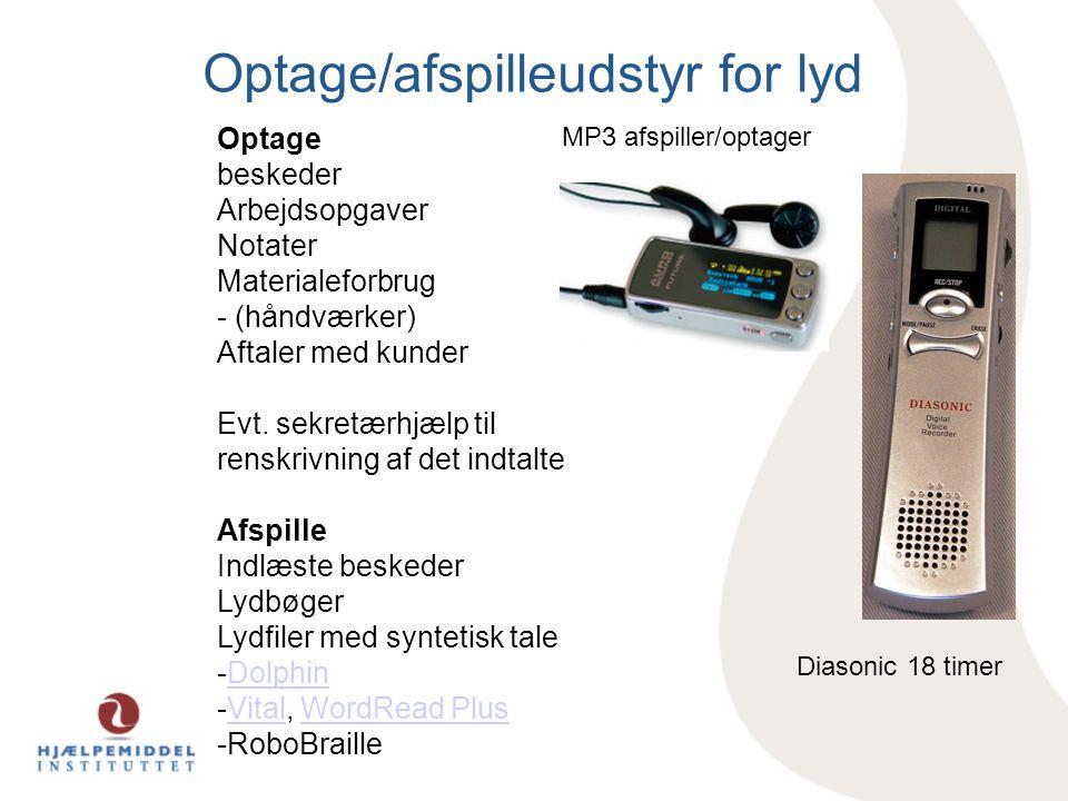 Optage/afspilleudstyr for lyd Diasonic 18 timer MP3 afspiller/optager Optage beskeder Arbejdsopgaver Notater Materialeforbrug - (håndværker) Aftaler med kunder Evt.