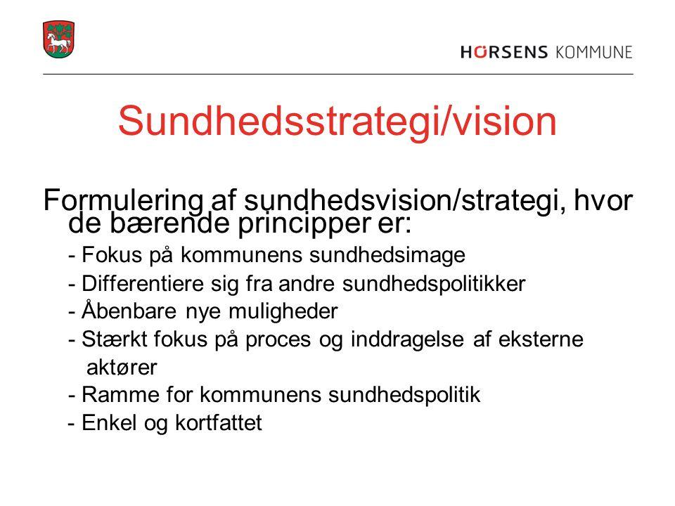 Sundhedsstrategi/vision Formulering af sundhedsvision/strategi, hvor de bærende principper er: - Fokus på kommunens sundhedsimage - Differentiere sig