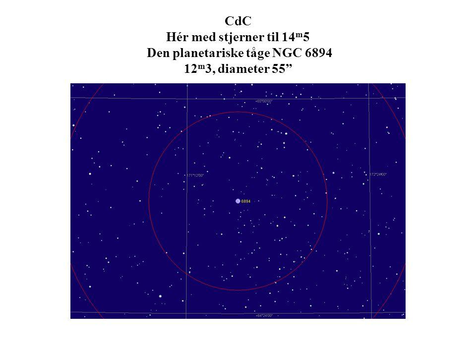 CdC Hér med stjerner til 14 m 5 Den planetariske tåge NGC 6894 12 m 3, diameter 55