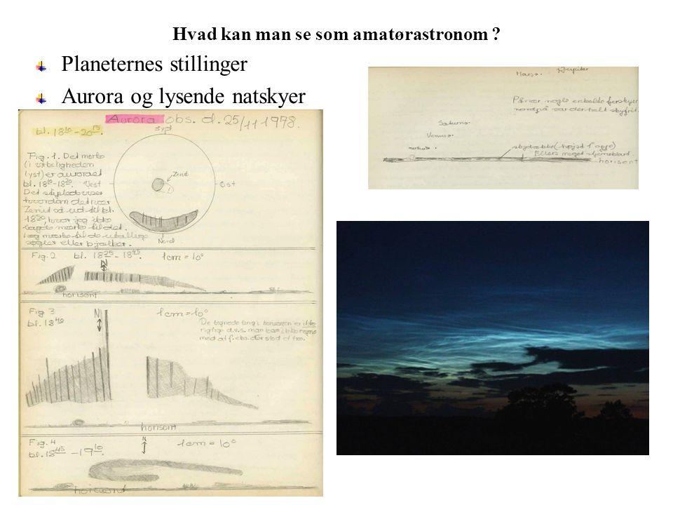 Hvad kan man se som amatørastronom Planeternes stillinger Aurora og lysende natskyer